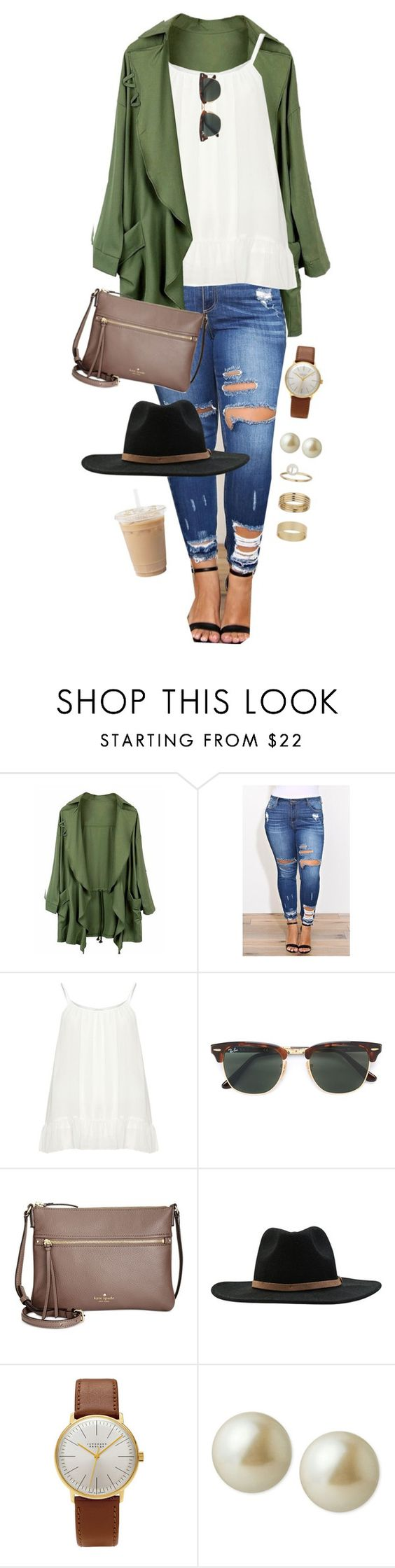 """""""Size doesn't matter to God. So if it bothers other people, that's they're problem not yours"""" by joannakirk ❤ liked on Polyvore featuring Zizzi, Ray-Ban, Kate Spade, RVCA, Junghans, Carolee and Miss Selfridge"""