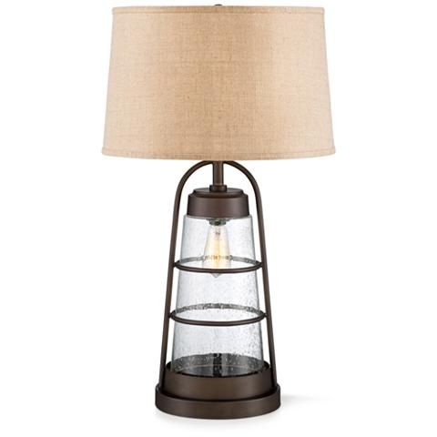 Industrial Lantern Table Lamp With Night Light 2v218 Lamps Plus With Images Lantern Table Lamp Farmhouse Table Lamps Lamp