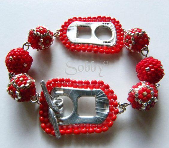 Rote  können Registerkarte Perlen Armband von Sobby auf Etsy, $38.00