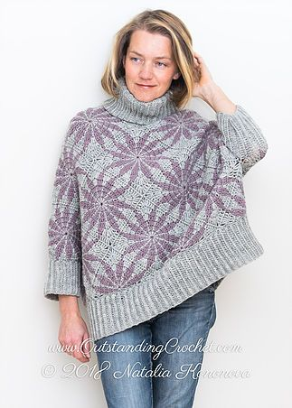 Morning Star Poncho Sweater Crochet Pattern with step pictures, charts, schematic, written instructions.
