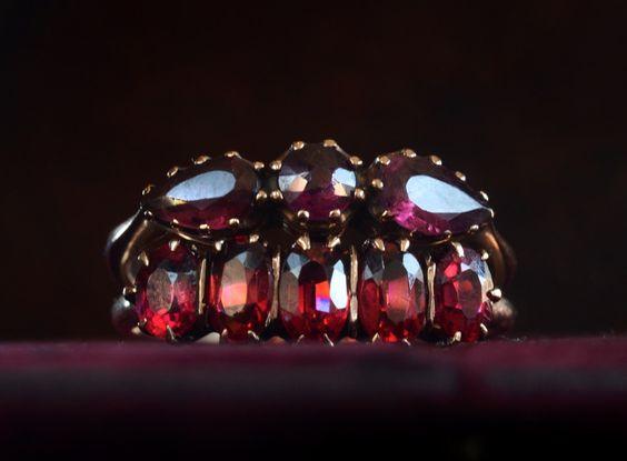 Late 1800s Almandine Garnet Ring, English, 9K, 325 $  --  Late 1800s Garnet Colored Paste Ring, American, 10K, 290 $