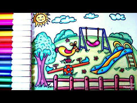 رسم حديقة وألعاب مراجيح وتلوينها للأطفال والمبتدئين بسهولة جدا خطوة بخطوة تعليم رسم حديقة العاب Youtube Neon Signs Art Neon