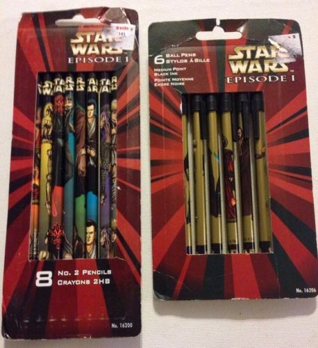 Star-Wars-Episode-I-Character-Pen-Pencil-Set-By-Pentech-New-Old-Stock