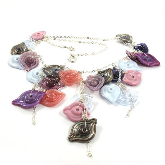 Glass Necklace  Lampwork Necklace  OOAK  Pink by SariGlassman, $120.00
