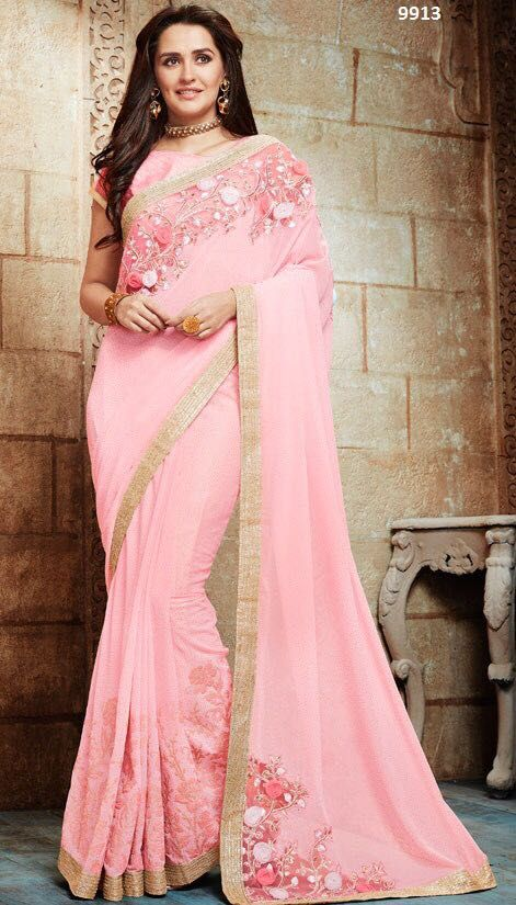 Saree sari Heavy Georgette Sequence Wedding fashion tradition India party brand
