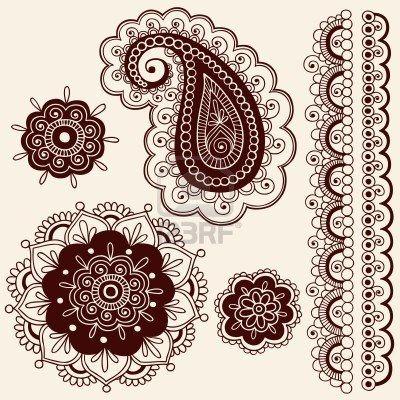 Mano-Drawn Paisley Tattoo de Henna Mehndi intrincado Doodle - ilustración Foto de archivo