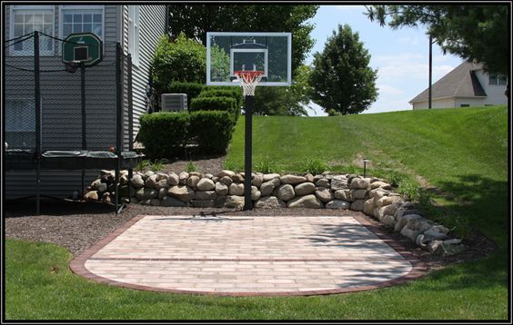 Backyard Basketball Court Ideas To Help Your Family Become Champs In 2020 Pavers Backyard Backyard Court Backyard