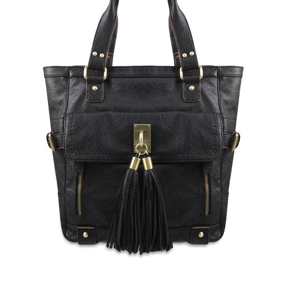 Melie Bianco Pocket Tote from LittleBlackBag.com  ::Black:: Handbag:: Tote:: Tassel