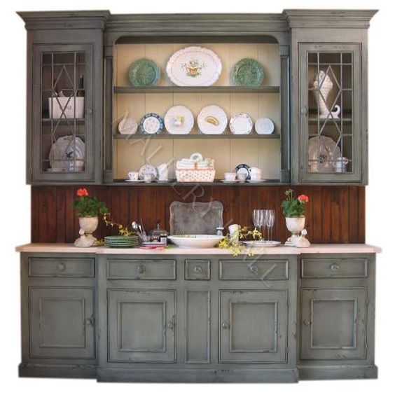 Hand Painted Kitchen Cabinets: Hand Painted Crackled Hutch Sideboard Country Custom China