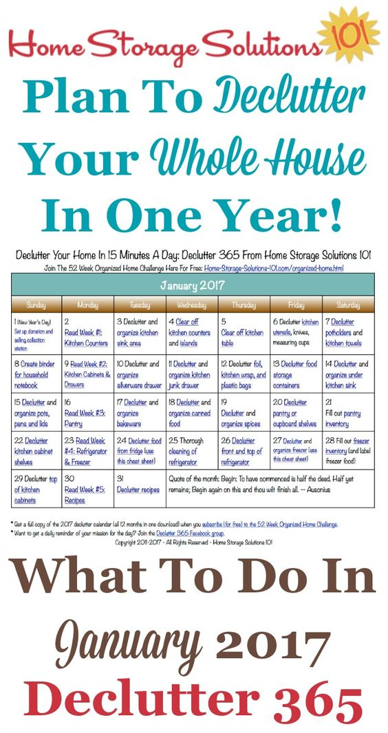 Calendar Organization Rules : January declutter calendar minute daily missions for month