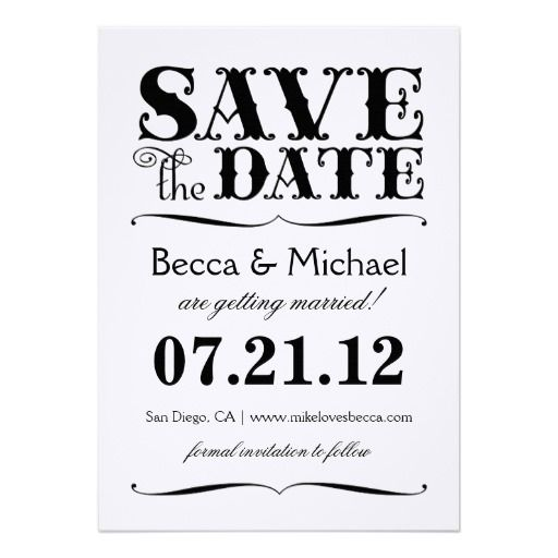 SAVE THE DATE | BLACK & WHITE PERSONALIZED ANNOUNCEMENTS