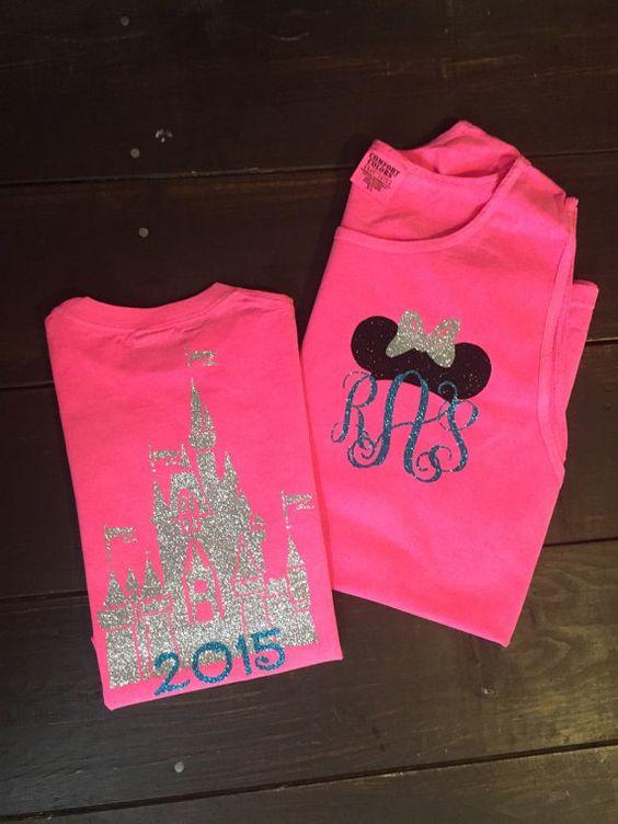 Castle Disney Tank - Minnie Ears Monogram - Neon Pink and Aqua Glitter Vinyl