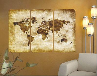 Deze hangt bij ons dus op plexiglas aan de muur: muurafbeelding no.CG75 Map Of The World Triptych I [27-11-2014]