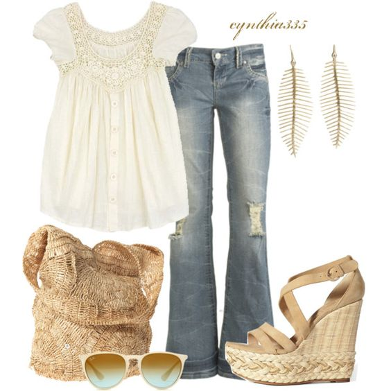 Summer Outfit: Modest White Blouse, Faded Boot Cut Blue Jeans, Beige Sandals, Beige Bag, Simple Earrings