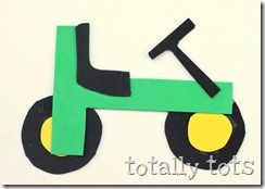 T is for Tractor- Uses the letter T to make the tractor- great after a library trip to look for tractor books