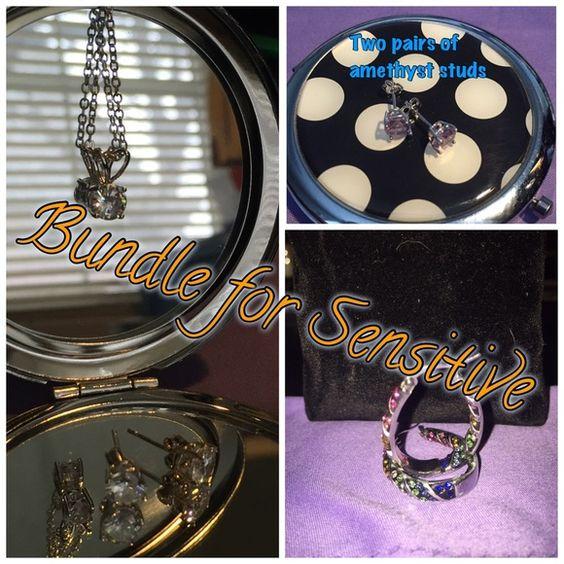 Bundle! Bundle: Rainbow loop earrings, necklace & earring combo, amethyst studs Jewelry Earrings