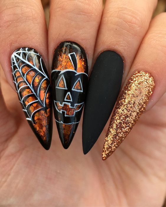 Halloween Stiletto Nails Craft And Beauty In 2020 Holloween Nails Cute Halloween Nails Halloween Nails