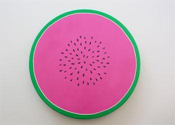 Dienblad gemaakt van een IKEA draaiplateau. #watermeloen #knutselen #zomer