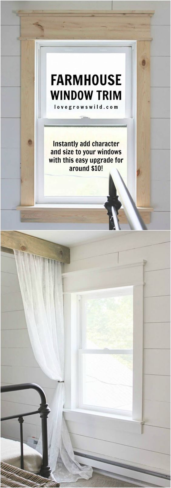 Learn how to bulk up the trim around your windows for a beautiful farmhouse look! Such an easy and inexpensive upgrade! | LoveGrowsWild.com: