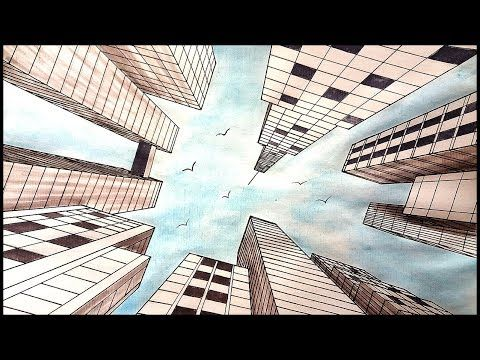 Drawing A City In One Point Perspective Looking Up View Youtube Perspective Art Landscape Art Lessons Landscape Drawings