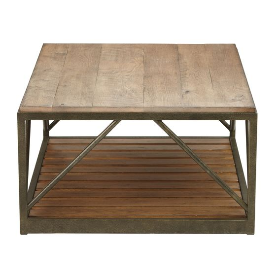 Ethan Allen Townhouse Coffee Table: Beam Metal Base Coffee Table