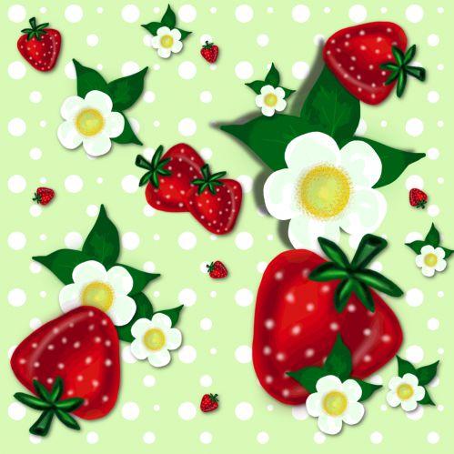 "Strawberry Pattern Motiv: ""erdbeere"" (#66534) © RicisART   Participant in stoffn's pattern design contest June 2015"
