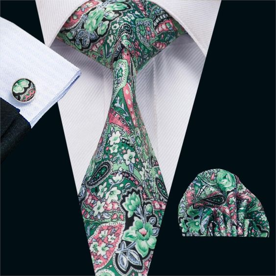 FA-1232 New Arrival Fashion Print Ties For Men High Quality Brand Design Necktie Handkerchief Cufflinks Set For Wedding Party