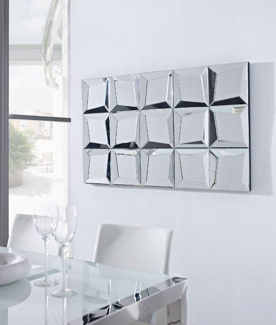 Espejo decorativo realizado con cristal y espejos for Espejos modernos cristal