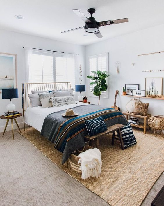 西海岸 カリフォルニア インテリア 寝室 シーリングファン コーディネート例