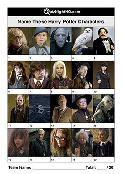 Name These Harry Potter Characters Harry Potter Characters Movie Themed Party Pub Quiz Questions