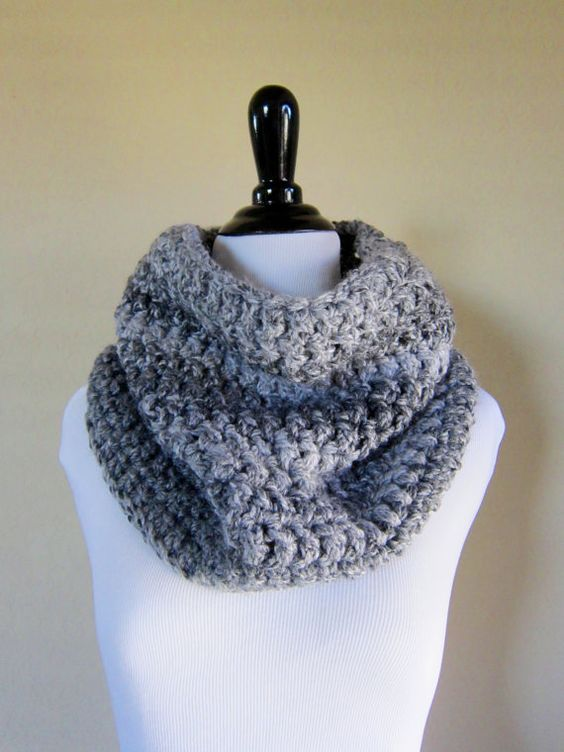 Charcoal and Pale Gray Marbled Winter Cowl by CocoAndJo on Etsy, $25.00