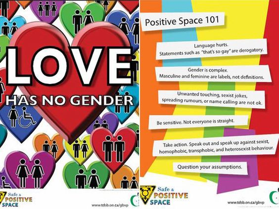 Posters from the TDSB's safe and positive place campaign. Canadian Schools taught gender diversity including more than 2 genders, possibly even 6.
