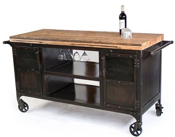 Rolling Custom Handmade Bar Cart Reclaimed Train Car by JReal