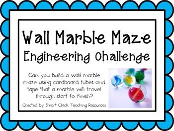 Wall Marble Maze: Engineering Challenge Project ~ Make a marble ramp using cardboard tubes and tape for a marble to travel a certain distance from start to finish.