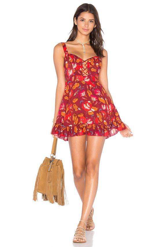 Free People Lattice Lovers Slip Dress in Red Combo