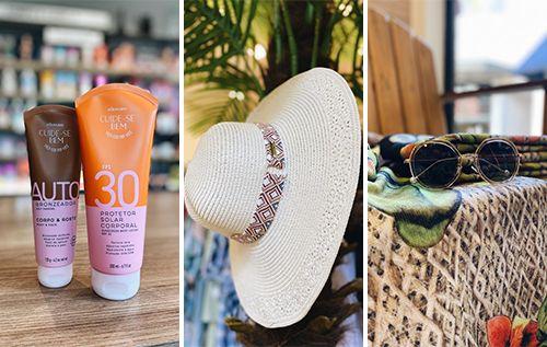 Protetor solar, chapéu e óculos de sol.