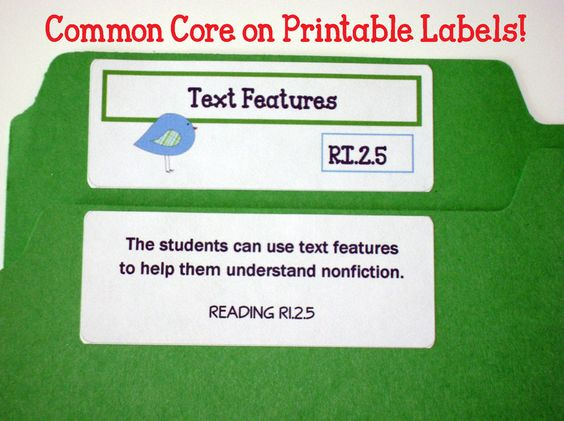 COMMON CORE LABELS {2nd Grade Standards}