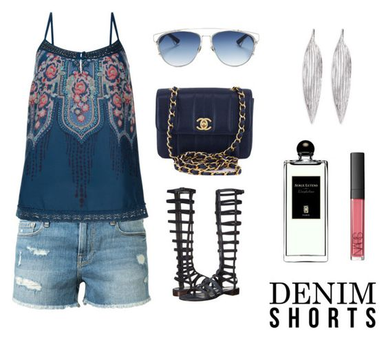 """Denim shorts"" by igiulia on Polyvore featuring Frame Denim, Monsoon, Stuart Weitzman, Chanel, Christian Dior, Awü, Serge Lutens and NARS Cosmetics"