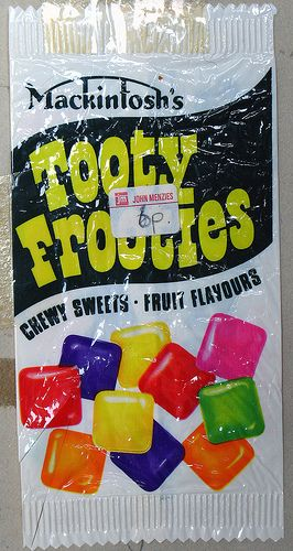 Tooty frooties not the size of jelly tots in them days