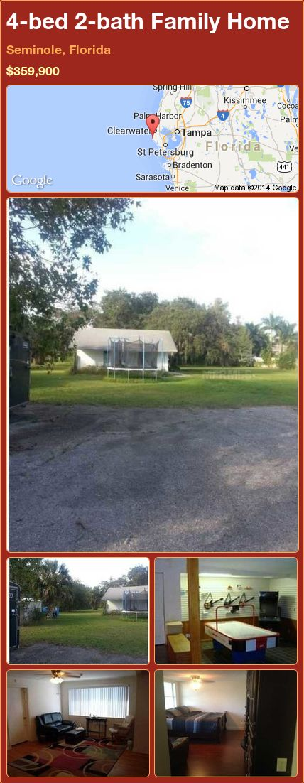 4-bed 2-bath Family Home in Seminole, Florida ►$359,900 #PropertyForSale #RealEstate #Florida http://florida-magic.com/properties/75995-family-home-for-sale-in-seminole-florida-with-4-bedroom-2-bathroom
