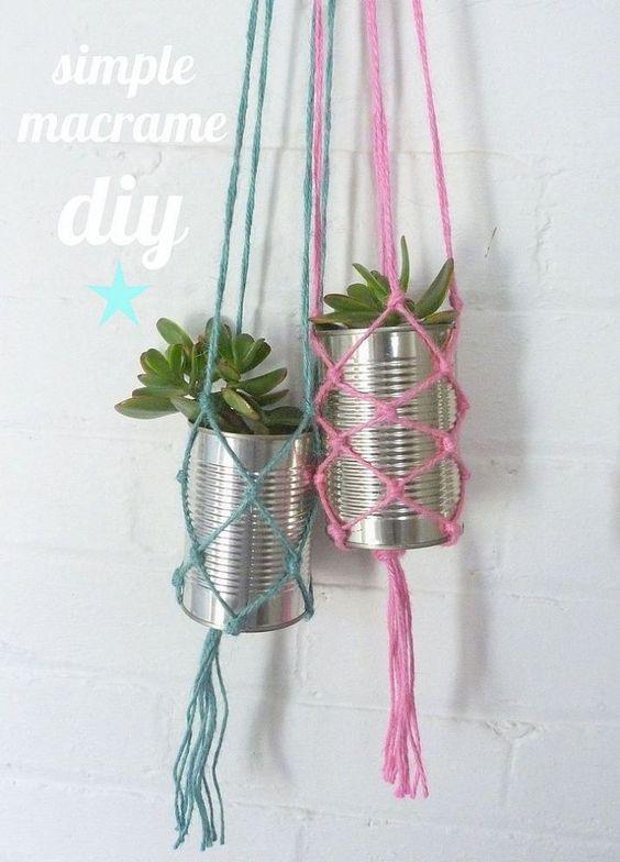 Simple macrame diy macetas jardineras colgantes y colgadores de plantas - Colgadores de macetas ...