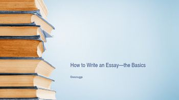 This is a brief and detailed presentation walking students through thesis creation, essay structure, and do's and don't's. I use this with all of my high-school students, from freshmen to Advanced Placement Language and Advanced Placement Literature.