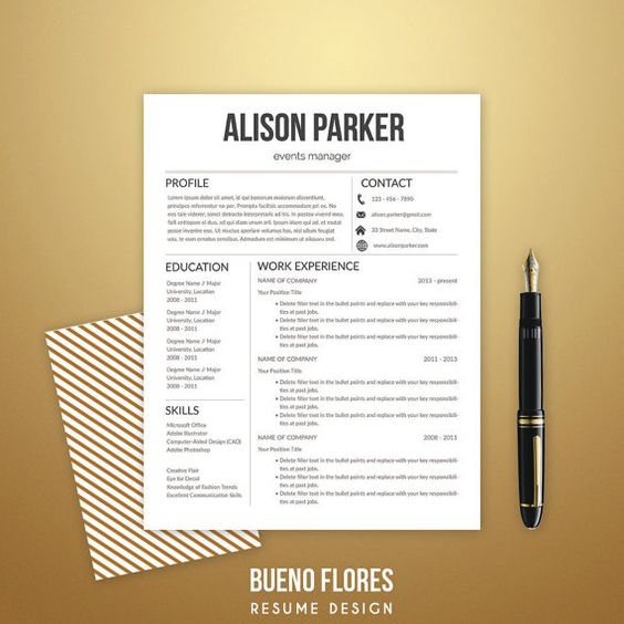 Resume Template quotAlison Parkerquot Cover letter
