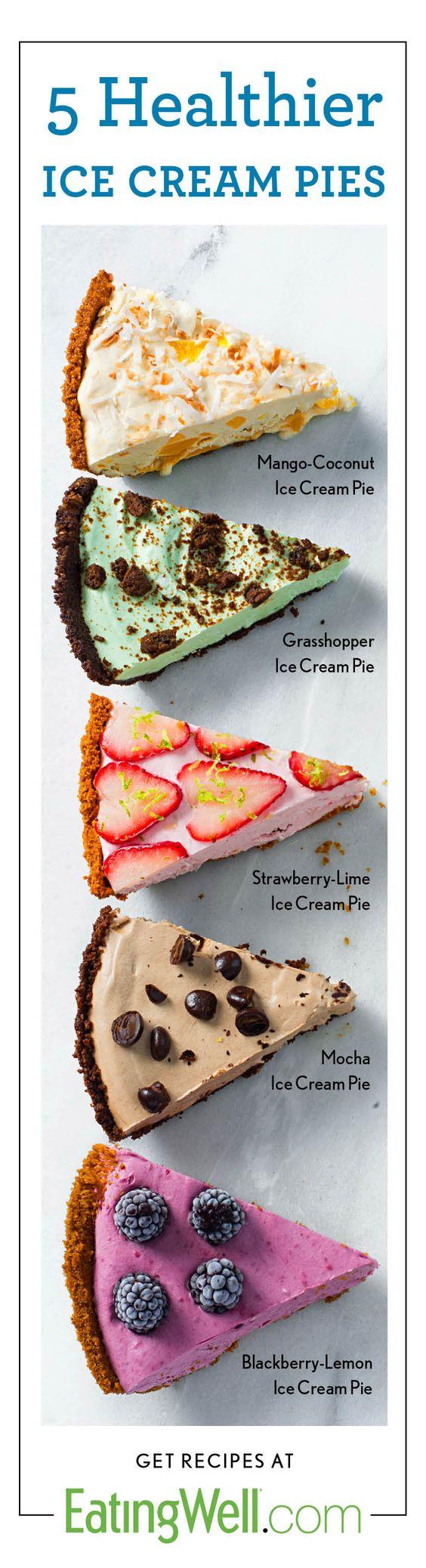 Homemade Ice Cream Pies using greek yogurt and fruit: