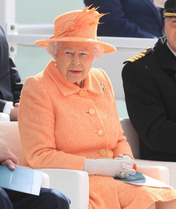 Queen Elizabeth II at the inaugural celebration and naming ceremony of the new P&O Cruises ship Britannia