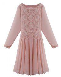 Elegant Scoop Neck Long Sleeve Lace Splicing Chiffon Dress For Women