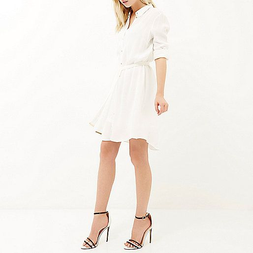 White crepe dipped back shirt dress - shirt dresses - dresses - women