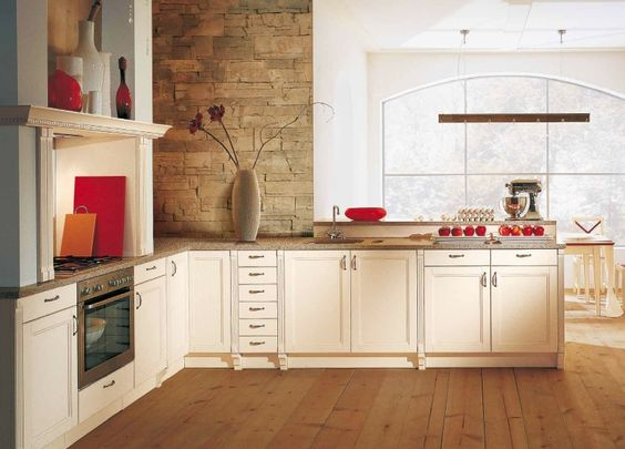 Kitchen:Stunning Classic Kitchen Red Accents Modern Kitchen Island With Wastafle And Faucet Kitchen Cabinet Wooden Floor Transparan Glass Wi...