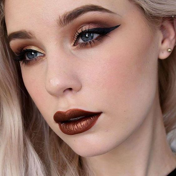"""mirandahedman - Autumn feels  Check out my autumn look with metallic lips on my YouTube. Link is in bio! EYES #zoeva Cocoa Blend • #thebalm Liquid Eyeliner, What's Your Type? MascaraLIPS #limecrime Velvetines """"Saddle"""""""