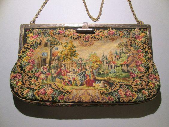 Beautiful Vintage Scenic Micro Petit Point Purse Handbag Marked Austria #Handmade #EveningBag